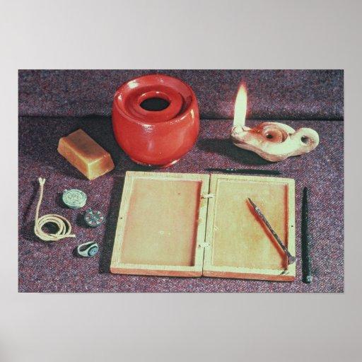 Roman writing materials poster