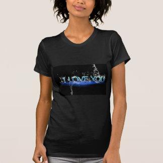 romance-624252 LOVE TYPOGRAPHY BLACK BLUE ICED FON T Shirt
