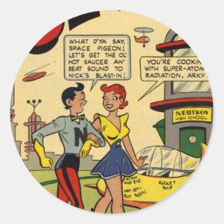 Romance adolescente en el futuro pegatina redonda