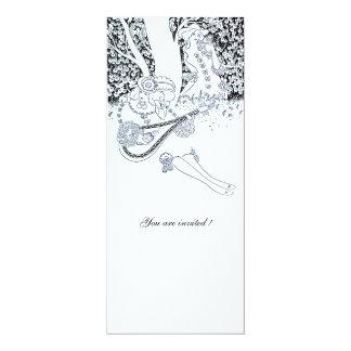 ROMANCE, black and white 4x9.25 Paper Invitation Card