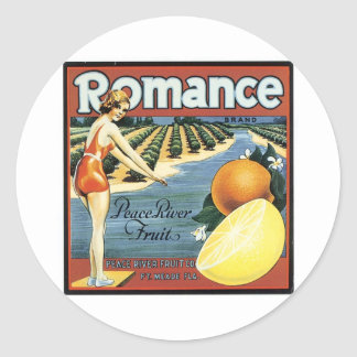 Romance Brand Peace River Fruit Classic Round Sticker