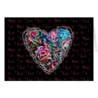 Romance colorido del amor de la tarjeta del día de