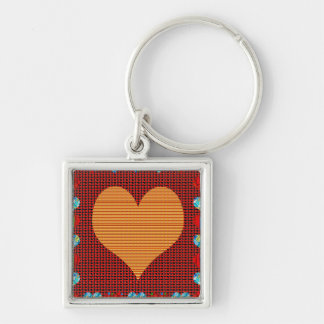 Romance colorido del amor de los símbolos de llavero cuadrado plateado