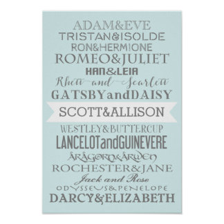 Romance Couples Custom Poster - CHOOSE YOUR COLOR