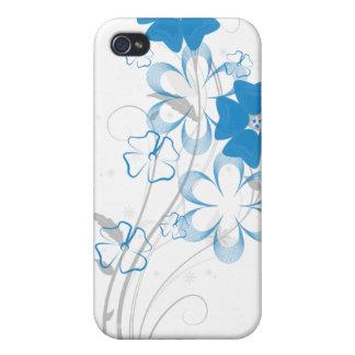 Romance de florecimiento en iPhone4 floral azul iPhone 4 Fundas