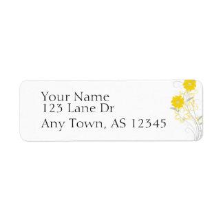 Romance de florecimiento en remite amarillo etiqueta de remite