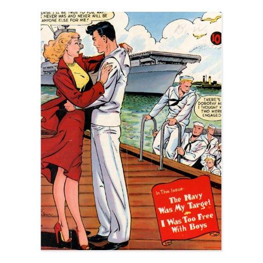 Romance de la marina de guerra tarjeta postal
