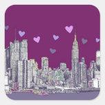 Romance de la púrpura de la tinta de Nueva York Pegatina Cuadrada