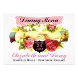 Romance de la regencia que cena tarjetas del menú comunicado personalizado