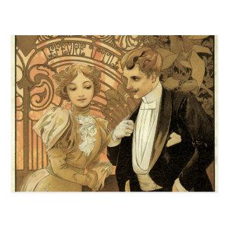 Romance del amor de Nouveau del arte del vintage, Postales