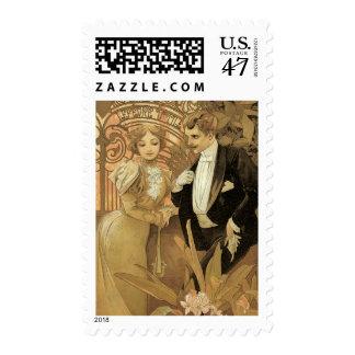 Romance del amor de Nouveau del arte del vintage, Sello Postal