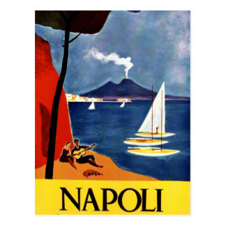 Romance del amor del viaje de Napoli del vintage Postal