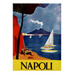 Romance del amor del viaje de Napoli del vintage Póster