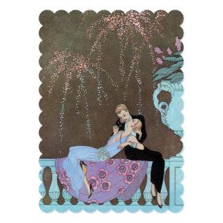 Romance del amor del vintage, art déco, el casarse comunicados personalizados