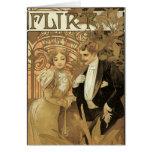 Romance del amor del vintage, arte Nouveau, Alfons Felicitacion