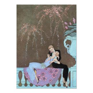 Romance del amor del vintage, beso romántico de invitaciones personalizada