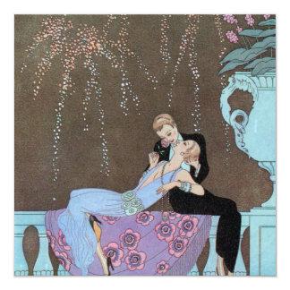Romance del amor del vintage, beso romántico de invitacion personalizada