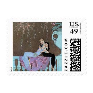 Romance del amor del vintage, beso romántico de sello postal