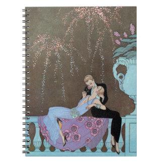 Romance del amor del vintage, beso romántico de spiral notebook