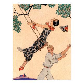 Romance del amor del vintage, oscilación Barbier d Tarjetas Postales