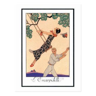 Romance del amor del vintage oscilación Barbier d Tarjetas Postales