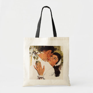 Romance del amor del vintage, par en un abrazo bolsa tela barata