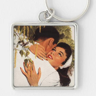 Romance del amor del vintage, par en un abrazo llavero cuadrado plateado