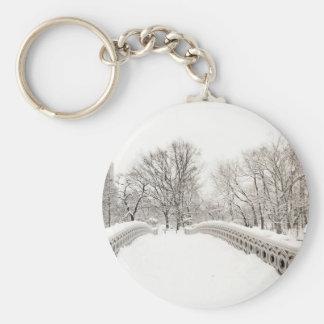 Romance del invierno del Central Park - puente del Llavero Redondo Tipo Pin