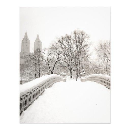 Romance del invierno del Central Park - puente del Membrete Personalizado