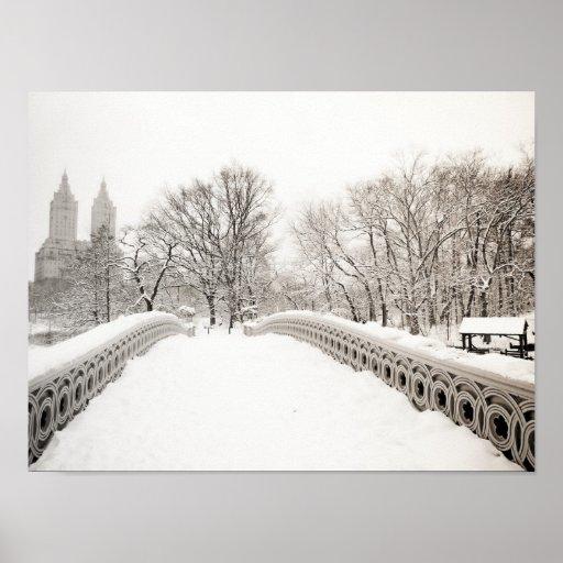 Romance del invierno del Central Park - puente del Impresiones