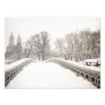 Romance del invierno del Central Park - puente del Fotografía
