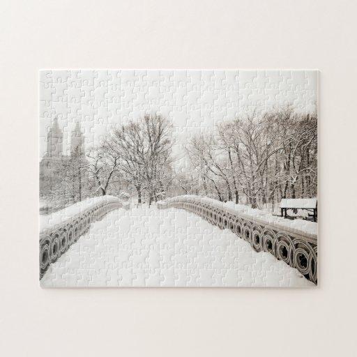 Romance del invierno del Central Park - puente del Puzzles Con Fotos