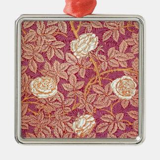 Romance del rosa rojo adorno navideño cuadrado de metal
