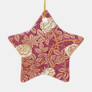 Romance del rosa rojo adorno navideño de cerámica en forma de estrella
