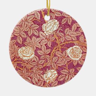 Romance del rosa rojo adorno navideño redondo de cerámica