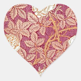 Romance del rosa rojo pegatina en forma de corazón