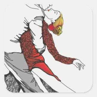 Romance del tango pegatina cuadrada