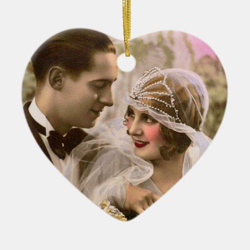Romance doble adorno navideño de cerámica en forma de corazón