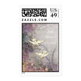 Romance - Doves - Just Married - Postage Stamp