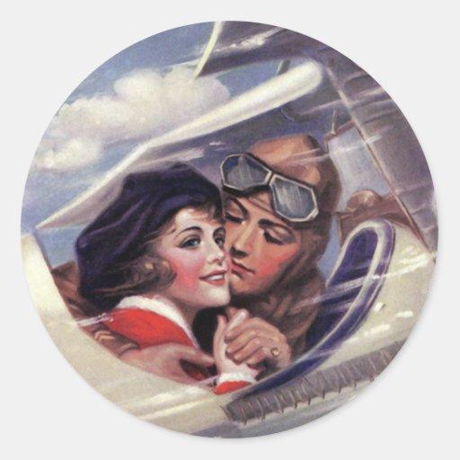 Romance en el cielo pegatina redonda