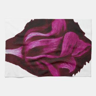 Romance floral de Borgoña del arte de los pasteles Toallas De Mano