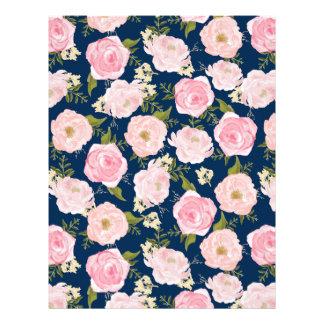Romance Garden Floral Vintage Pink Roses Custom Letterhead
