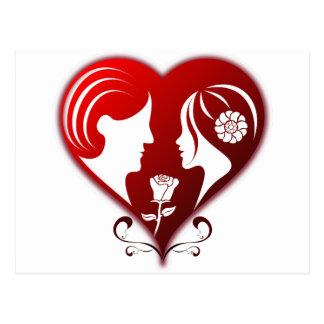 Romance Heart w/ Two Lovers Between Rose Postcard
