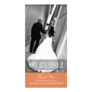 ROMANCE IN ORANGE | WEDDING THANK YOU CARD PHOTO CARD TEMPLATE