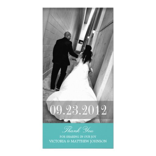 ROMANCE IN TURQUOISE   WEDDING THANK YOU CARD PHOTO CARD