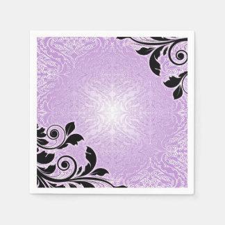 Romance Lavender Floral Damask Napkins
