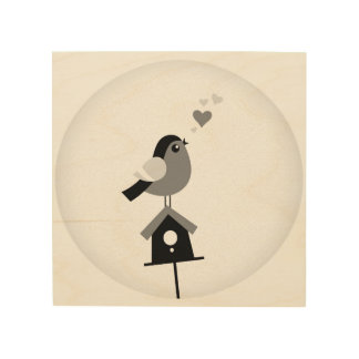 Romance little bird on wood wood wall art