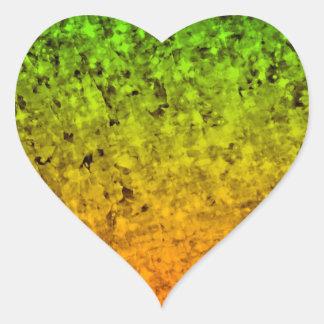 ROMANCE ME, Island Ombre Neon Orange Green Stars Heart Sticker
