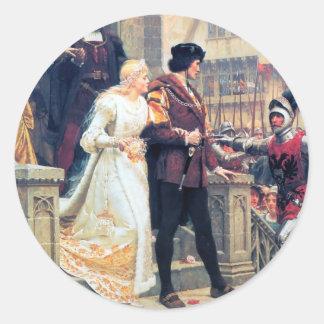 Romance medieval del boda pegatina redonda