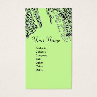 ROMANCE  MONOGRAM , black and green Business Card